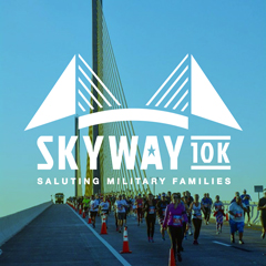 Skyway 10k logo with runners